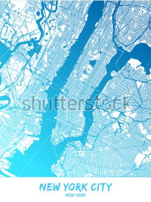 Obraz Centrum města New York a okolí Mapa v modrých stínovaných zelených s mnoha detaily. Tato mapa New Yorku obsahuje paměť památek s prostorem pro další informace.