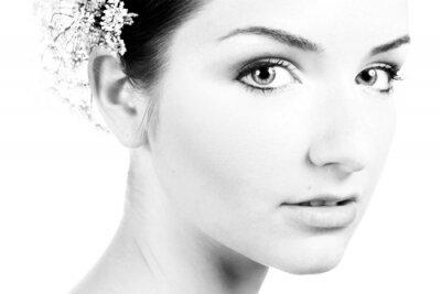 Obraz Černá a bílá close-up krásné ženy