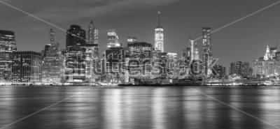 Obraz Černá a bílá New York panorama v noci, USA.