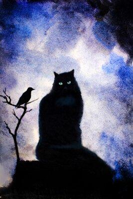 Obraz černá kočka se zelenýma očima