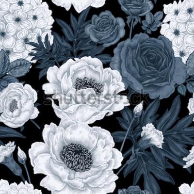 Obraz Černé a bílé květinové pozadí s růží, pivoňky, hortenzie, karafiáty.