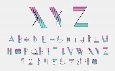 Obraz Černé abecední písma a čísla s barevnými linkami. Vektorové ilustrace.