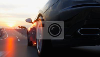 Obraz Černé sportovní auto na silnici, dálnici. Velmi rychlá jízda. 3d rendering.