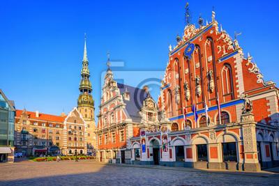 Černé tečky dům ve starém městě Riga, Lotyšsko