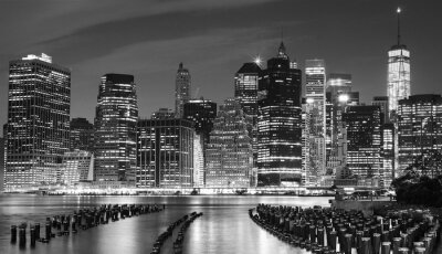 Obraz Černobílá fotografie Manhattan nábřeží, NYC, USA.