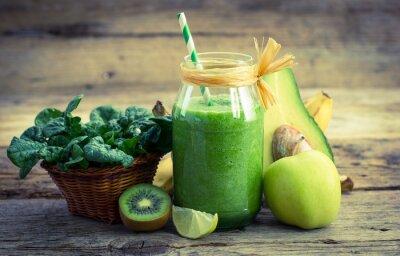 Obraz Čerstvé a zdravé zelené smoothie