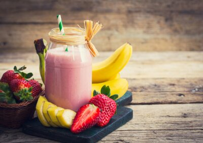 Obraz Čerstvé jahody a banán smoothie