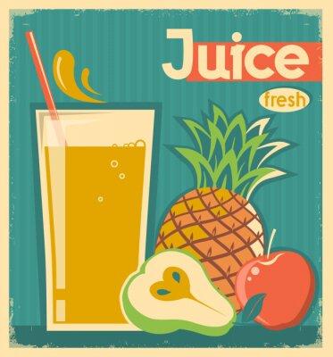 Obraz čerstvé ovoce juice.Vector vinobraní karty
