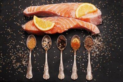 Obraz Čerstvý losos a koření