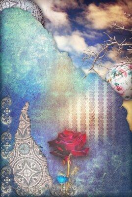 Obraz Červená růže v modré hvězdné oblohy