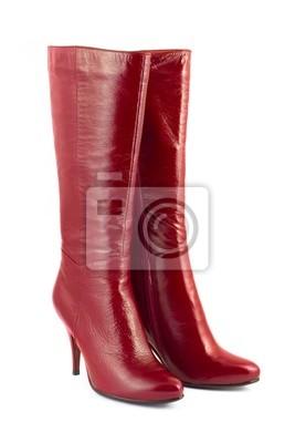 Červená žena boty izolovaných na bílém pozadí