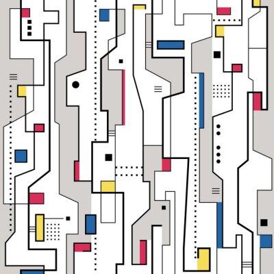 Obraz červená žlutá modrá a šedá abstraktní vzor