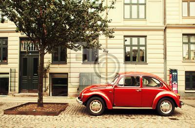 Červené auto v Kodani.