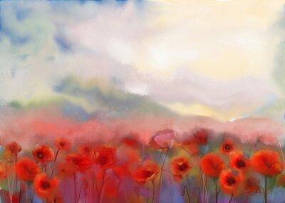 Obraz Červené máku květiny podal akvarelu
