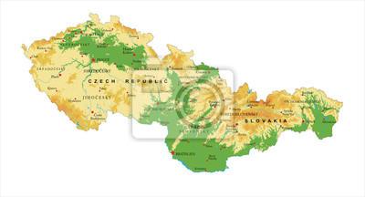 Česká republika a Slovensko fyzická mapa