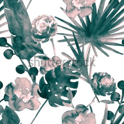 Obraz Český tyrkysový modrý retro exotické květinové akvarel bezešvé vzor. Měkké ženské tkaniny pozadí s banánem, listy listí, růže. Květinový vzor bezešvé akvarel tropické tapety.