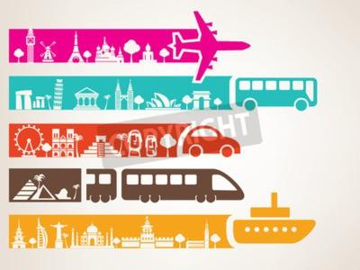 Obraz cestování na světě různými druhy dopravy, orientační body