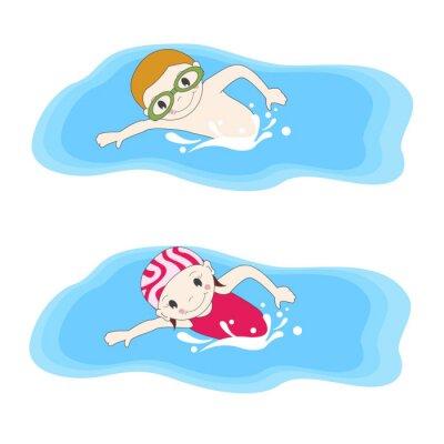 Obraz Chlapec a plavání v bazénu