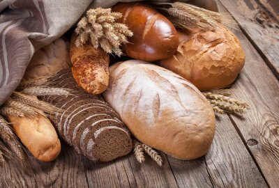 Obraz Chléb a uši na staré stůl
