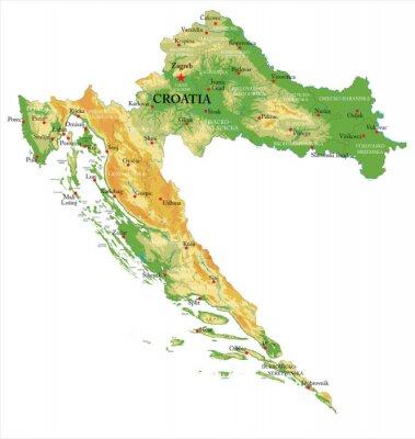 Chorvatsko fyzická mapa