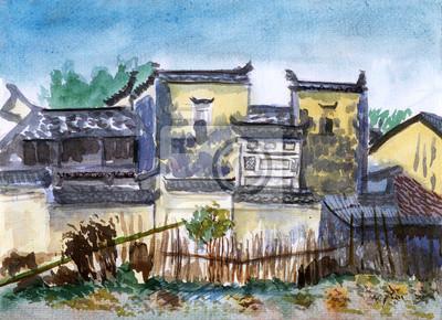 Čína Jiangxi vesnice akvarel