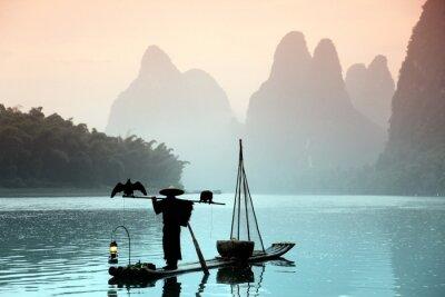 Obraz Číňan rybolov s kormorány ptáky