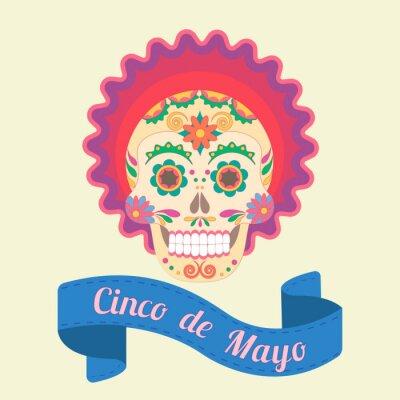 Obraz Cinco de Mayo, pomalované lebky v národních tradic Mexika