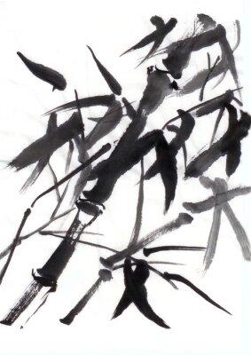 Čínská malba bambus ve větru