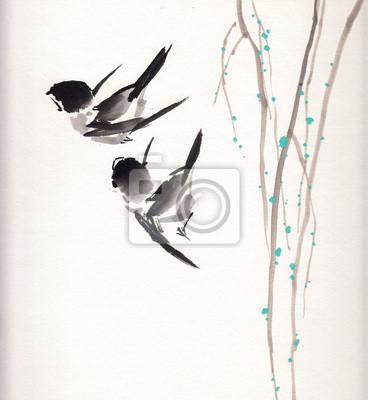 Čínská malba pták