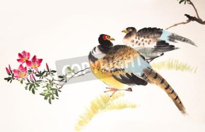 Obraz Čínská tušové malby ptáků a rostlin