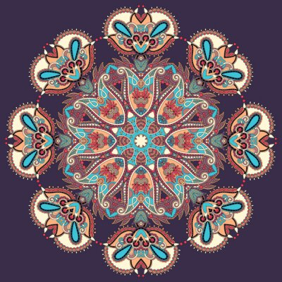 Obraz Circle krajky ornament, ornamentální kolo geometrický vzor ubrousek