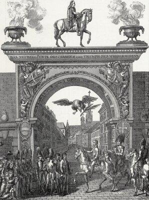 Obraz Císař František I. táhne ve Vídni v červnu 1814 Mědirytu šablony