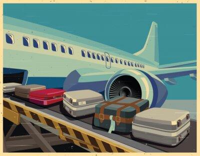 Obraz civilní letadla a zavazadla starý plakát