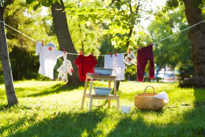 Obraz clothes and toys hanging on the clothesline in the summer outdoors. accessories to washing