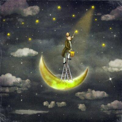 Obraz Člověk čerpá hvězdy v horní části vysoké žebříčku v temné obloze