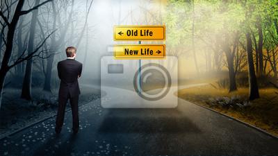 Obraz člověk se musí rozhodnout, zda přijmout cestu do starého nebo nového života