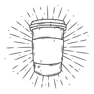 Obraz Coffee cup. Hand drawn vector illustration with coffee cup and divergent rays.