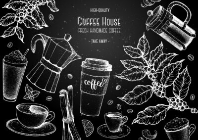 Obraz Coffee cups, beans and coffee tree illustration. Vintage design for coffee shop. Engraved vector illustration.