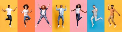 Obraz Collage of cheerful jumping multinational people in air on color background, panorama