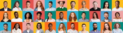Obraz Collage Of Diverse People Portraits On Colorful Backgrounds, Panorama