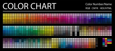 Obraz Color Chart. Print Test Page. Color Numbers or Names. RGB, CMYK, HEX HTML codes. Vector color palette.
