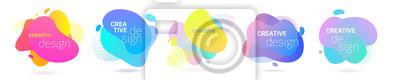Obraz Color gradient abstract liquid splash shape, vector halftone pattern background design. Fluid color gradient overlap halftone graphic background