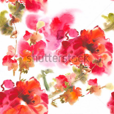 Obraz Color illustration of flowers in watercolor paintingsAlbum