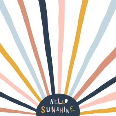 Obraz Colorful childish illustration with sun and text. Hello sunshine paper cut style lettering. Typographic print for kids nursery design.
