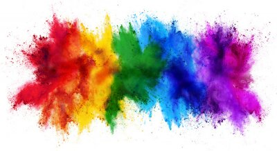 Obraz colorful rainbow holi paint color powder explosion isolated white wide panorama background