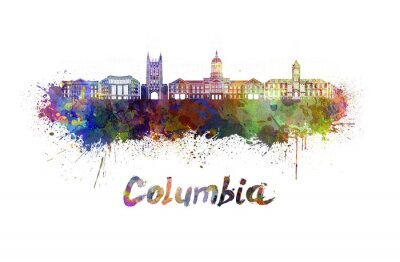 Obraz Columbia MO panorama v akvarelu