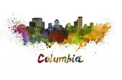 Obraz Columbia panorama v akvarelových stříkance s ořezovou cestou