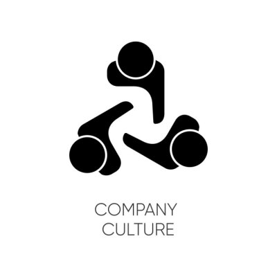 Obraz Company culture black glyph icon. Internal corporate ideology, professional business ethics silhouette symbol on white space. Staff togetherness, personnel communication. Vector isolated illustration