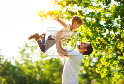 Obraz concept of father's day! happy family dad and child daughter    in nature.
