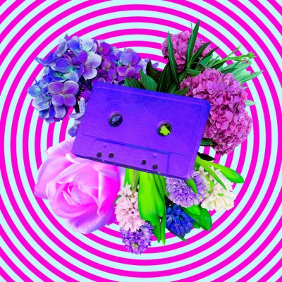 Contemporary art collage. Audio cassette and flowers. Spring summer bloom mood